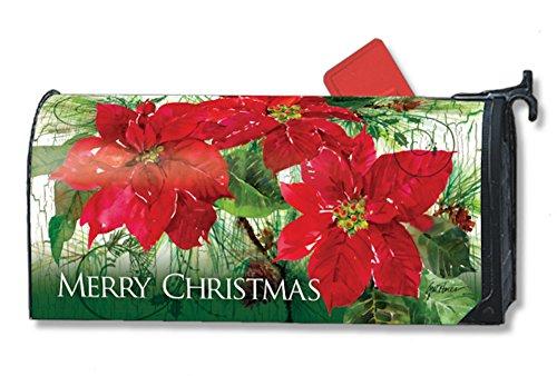 Mailwraps Christmas Poinsettias Mailbox Cover 01043