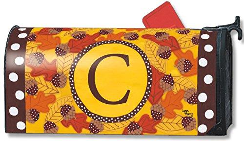Fall Follies Monogram C Magnetic Mailbox Cover Autumn Leaves Acorns Letter C