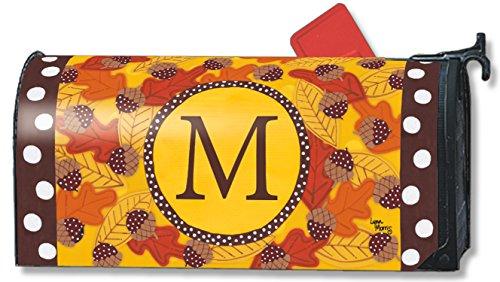 Fall Follies Monogram M Magnetic Mailbox Cover Autumn Leaves Acorns Letter M