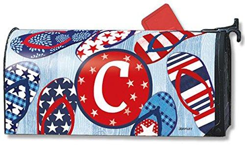 Freedom Flip Flops Monogram C Magnetic Mailbox Cover Patriotic Summer Letter C