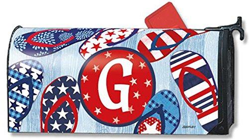 Freedom Flip Flops Monogram G Magnetic Mailbox Cover Patriotic Summer Letter G