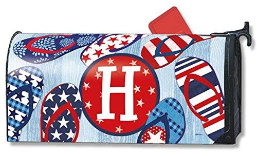 Freedom Flip Flops Monogram H Magnetic Mailbox Cover Patriotic Summer Letter H
