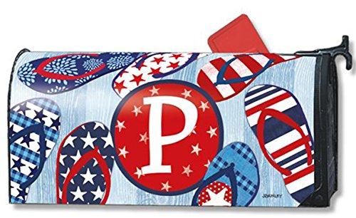 Freedom Flip Flops Monogram P Magnetic Mailbox Cover Patriotic Summer Letter P