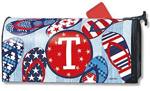 Freedom Flip Flops Monogram T Magnetic Mailbox Cover Patriotic Summer Letter T