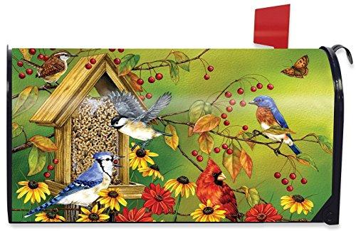 Fall Friends Birds Magnetic Mailbox Cover Autumn Cardinal Blue Jay Standard