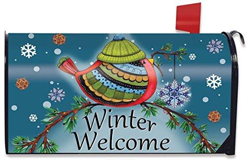 Winter Welcome Bird Magnetic Mailbox Cover Primitive Seasonal Standard