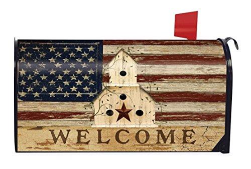 Americana Welcome Primitive Mailbox Cover Patriotic Birdhouse Briarwood Lane