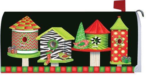 Christmas Birdhouses Zebra 1724mm Magnetic Mailbox Cover Wrap