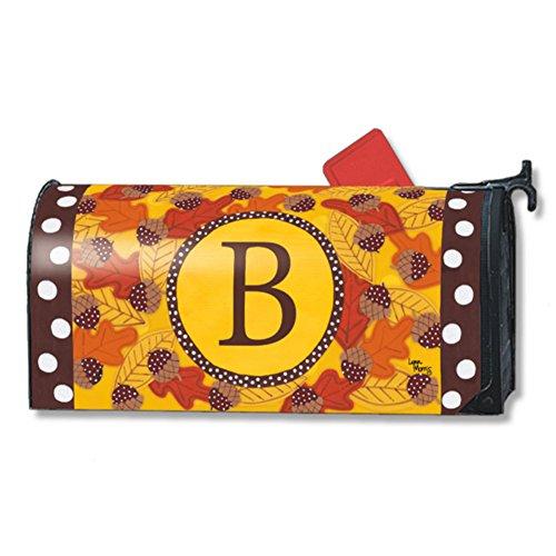 Fall Follies Monogram B Magnetic Mailbox Cover Autumn Leaves Acorns Letter B