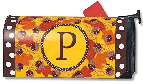 Fall Follies Monogram P Magnetic Mailbox Cover Autumn Leaves Acorns Letter P