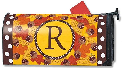Fall Follies Monogram R Magnetic Mailbox Cover Autumn Leaves Acorns Letter R