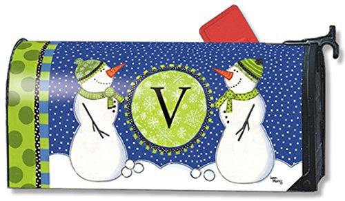 Winter Frolic Monogram V Magnetic Mailbox Cover Snowman Holiday Letter V