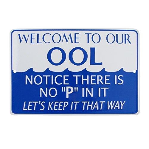 TGLLC Treasure Gurus No P Pee in Ool Funny Tin Metal Swimming Pool Sign