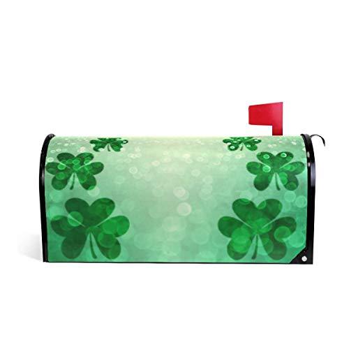 Lucky Green Irish St Patricks Day Shamrock Glitter Magnetic Mailbox Cover MailWraps Large Mailbox Wraps Post Box Garden Yard Home Decor for Outside Oversized