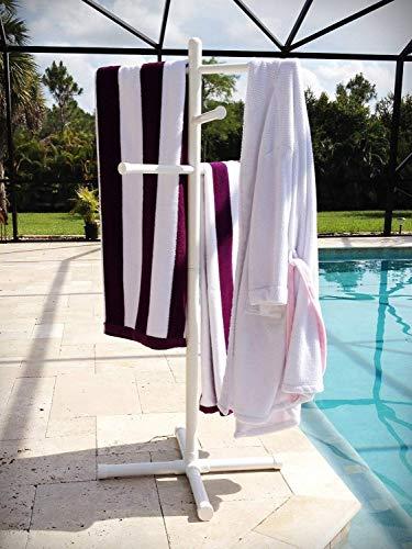 Pool Spa Towel Rack Premium Extra Tall Towel Tree Outdoor PVC White