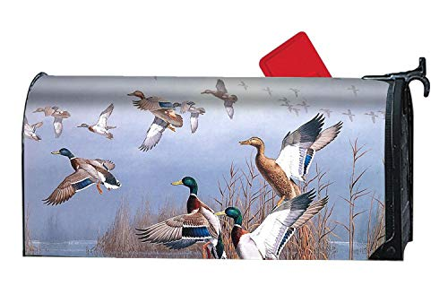 XASFF Customized Printed Magnetic Mailbox Cover Duck Hunting Flying Mallard Painting Mail Box Wrap Standard