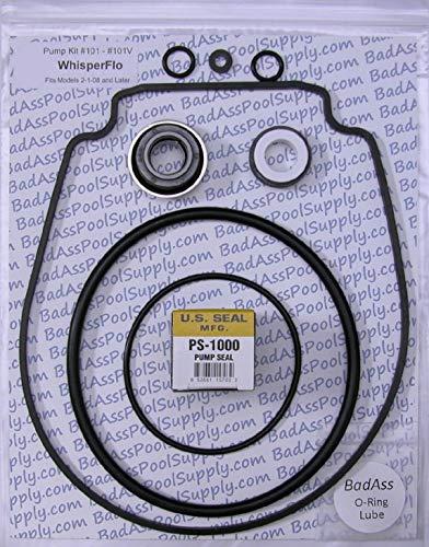 BadAss Pool Supply O-Ring Rebuild Repair Kit for Pentair WhisperFloIntelliFlo Black Gasket fits Years 208 and Later Go kit 32