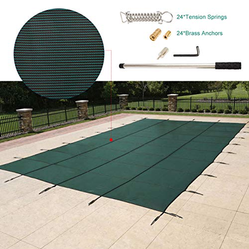 WICHEMI Pool Safety Cover 16 x 38 ft Rectangle Inground Pool Cover Green Mesh Solid Pool Cover In Ground Winter Safety Cover for Swimming Pool