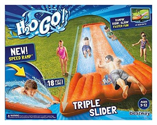 New Inflatable Water Slide Triple Pool Kids Park Backyard Play Fun Outdoor Splash Slip N Slide
