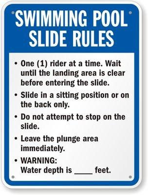 Swimming Pool Slide Rules Sign 24 x 18