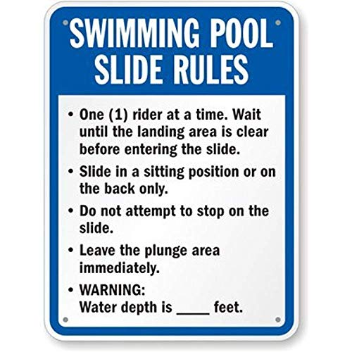 Swimming Pool Slide Rules Sign Engineer Grade Reflective Aluminum Sign 80 mil 8 X 12 inch