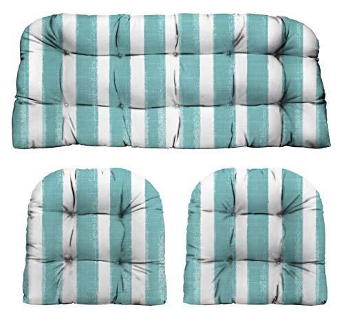RSH Décor Indoor Outdoor Decorative 3 Piece Tufted Love SeatSettee 2 U-Shaped Chair Cushion Set for Wicker Standard ~ 2-19x19 41x19 Nico Aqua Watercolor Stripe