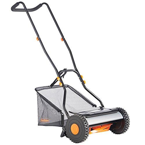 VonHaus 15 Reel Mower - Manual Hand Push Lawn Mower with 23L Detachable Grass Catcher Bag