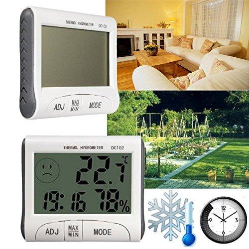 Gochange Inoutdoor Lcd Digital Hygrometer Thermometer Temperature Humidity Meter With Clock
