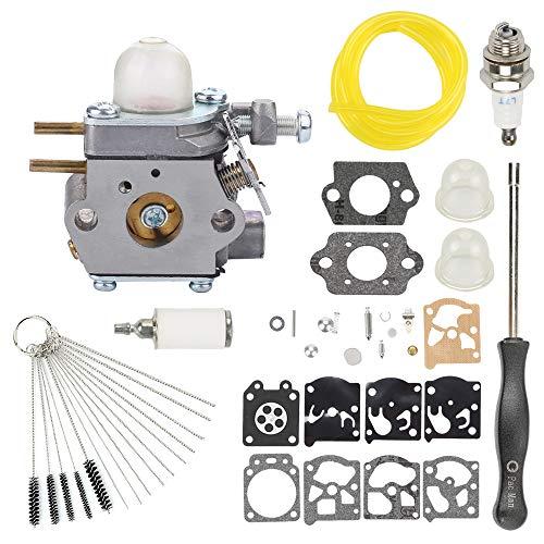 Highmoor 753-06190 Carburetor  Fuel Line Filter Spark Plug for MTD Troy Bilt TB21EC TB22 TB22EC TB32EC TB42BC TB80EC TB2040XP String Trimmer Brushcutter WT-973 Carb