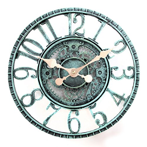 Lilyshome 12-inch Poly-resin Pewter Indoor Or Outdoor Wall Clock With Cog And Wheel Design