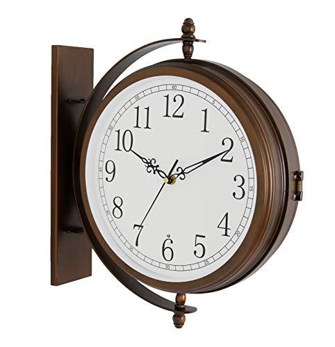Bestime 17inch Metal Case Double Side Clock Antique Copper Look IndoorOutdoor Garden