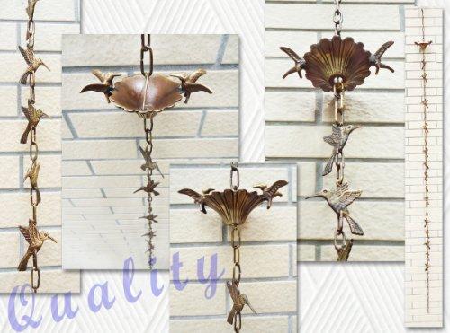 Brass Rain Chain  Brass Rain Cups with 2 Birds - 100 Inches H