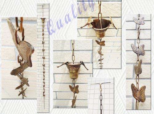 Brass Rain Chain  Brass Rain Cups with 2 Dragonflies Butterflies - 97 Inches H