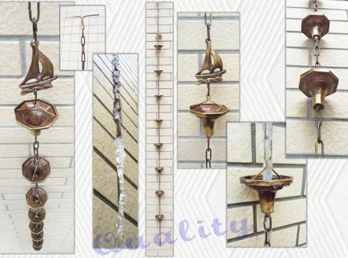Brass Rain Chain  Brass Rain Cups with a Sail - 86 Inches H