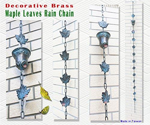 Decorative Brass Maple Leaves Rain Cup  Rain Chain 90 inches H