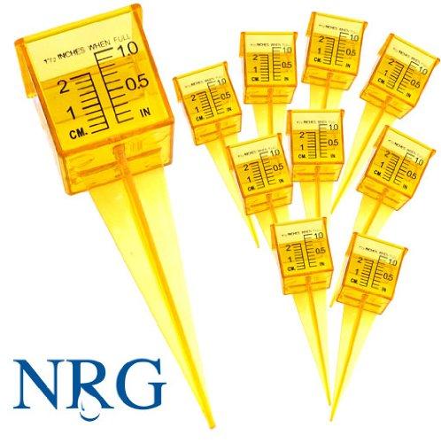 Ten Pack 15&quot Rain Gauge  Sprinkler Gauge Wide Mouth Bright Yellow Outdoor Water Measuring Tool 10 Piece