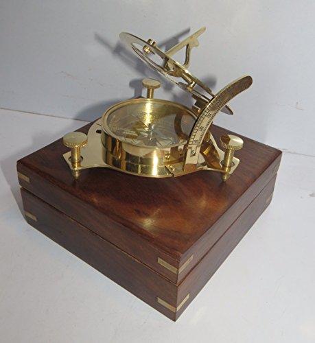 Captain Brass Sundial Compass With Hardwood Wooden Box Nauticalmart