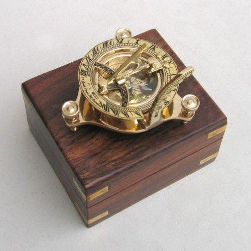 Solid Brass 3 Sundial Compass - W Inlaid Hardwood Box