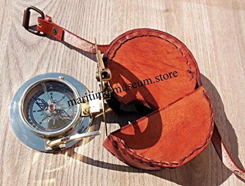 Handmade Brass Sundial Compass with Leather Box C-3058-c