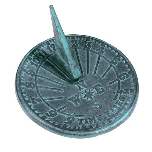 Rome 2520 Numbers Sundial Cast Iron With Verdigris Finish 10-inch Diameter