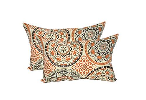 Set of 2 - Indoor  Outdoor Rectangle  Lumbar Decorative Throw  Toss Pillows ~ Wheel Poppy - Orange Grey Brown Ivory Large Sundial