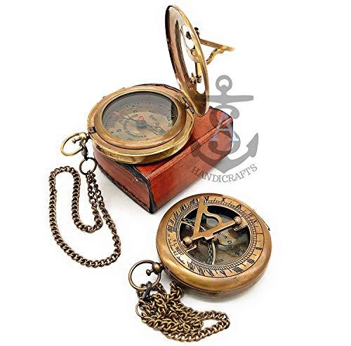 Sundial Compass Antique Steampunk Brass Sundial Compass Sundial Watch with Leather case Sundial