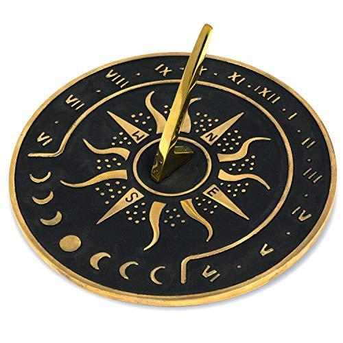 Sunward 85 Diameter Garden Sundial Clock with Polished Brass Highlights
