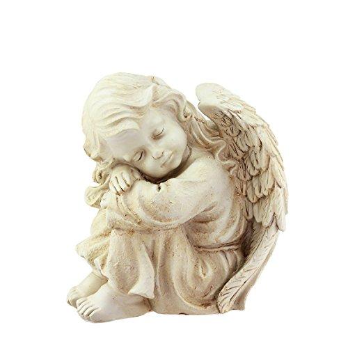 10&quot Heavenly Gardens Distressed Ivory Resting Cherub Angel Outdoor Patio Garden Statue