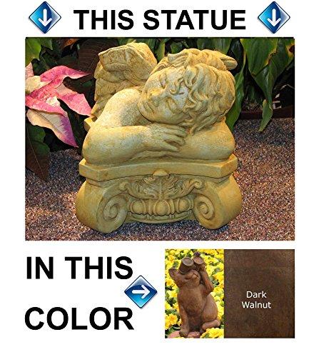 ANGEL BUST Cherub Statue 10 DARK BROWN Stain CAST CEMENT Outdoor Garden Decor Made in USA