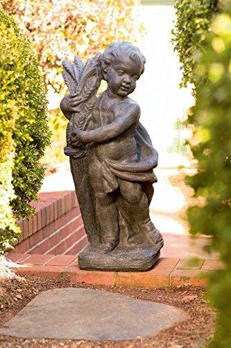 Autumn Cherub Statue in Gray Finish
