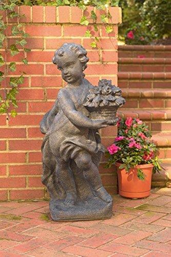Spring Cherub Statue in Gray Finish