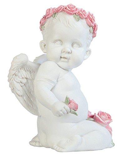 Stealstreet Cherub Holding Flower Statue 7&quot White