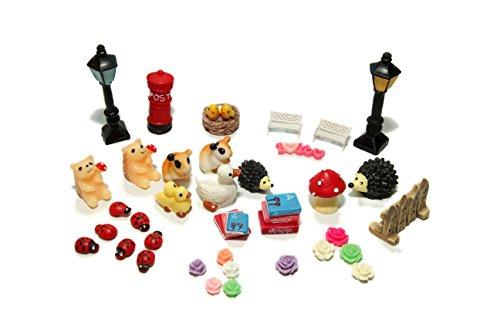 48pcs Fairy Garden Dollhouse Miniature Ornament Diy Kit With Storage Box