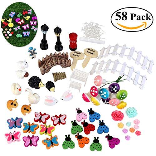 Bestomz 58pcs Miniature Fairy Garden Ornament For Diy Dollhouse Kit D&eacutecor